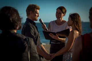 Beach sunset weddings with Melbourne Celebrant Meriki Comito