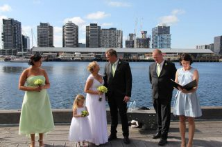 Docklands family wedding with Melbourne Marriage Celebrant Meriki Comito