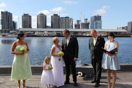 Docklands family wedding with Melbourne Marriage Celebrant Meriki Comito