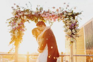 Sunset Luminare Weddings with Melbourne Marriage Celebrant Meriki Comito