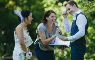 Fun Garden Wedding Images with Melbourne Marriage Celebrant Meriki Comito