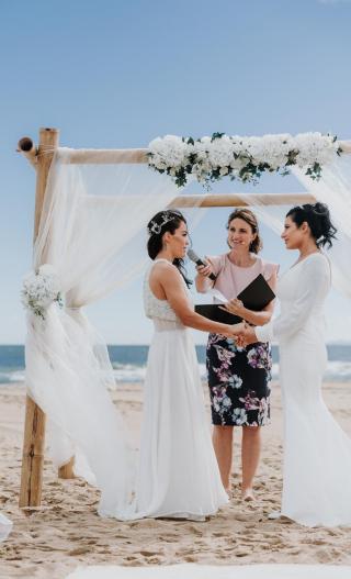 Same sex wedding with Melbourne Celebrant Meriki Comito
