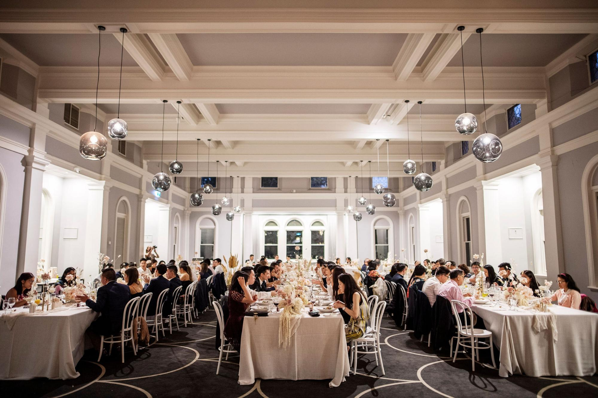 Wedding reception in the Bursaria Refectory at Werribee Mansion