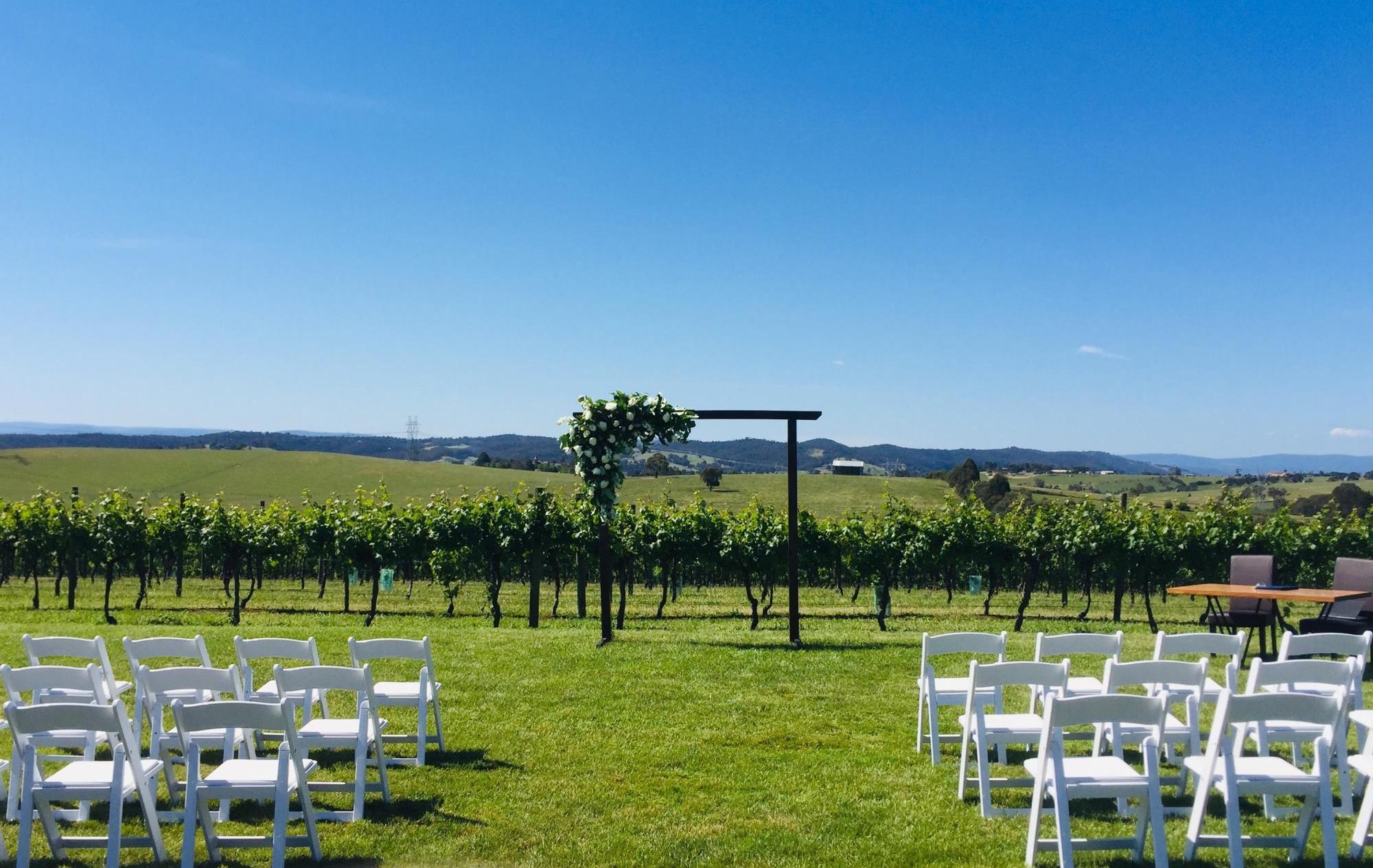 Vue on Halcyon outdoor wedding ceremony set up